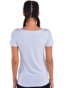 Deep Neck Polyester T-Shirt - Light Blue