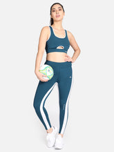 Load image into Gallery viewer, Gym/Yoga Medium Waist Tight With Sports Bra Complete Set -Blue