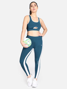 Gym/Yoga Medium Waist Tight With Sports Bra Complete Set -Blue