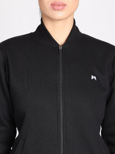 Women Fleece Sweatshirt front Zip & Pocket Style - Solid Black