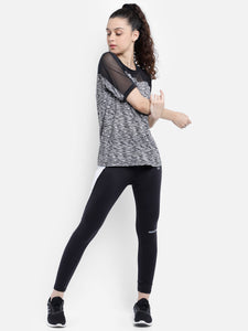 Round Neck Free Style Polyester T-Shirt -  Black