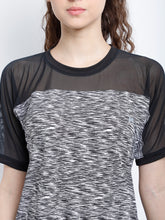 Load image into Gallery viewer, Round Neck Free Style Polyester T-Shirt -  Black