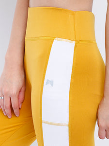Gym/Yoga High Waist Side White Strap Style Tight  - Yellow (Mustered) & White