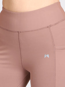 Gym/Yoga Medium Waist Tight Pocket Style - Light Brown