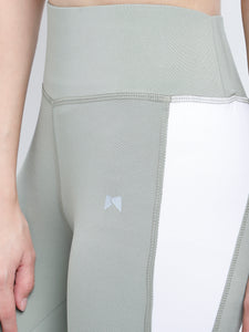 Gym/Yoga Medium Waist Both Side White Triangle Panel Tight  - Light Green & White
