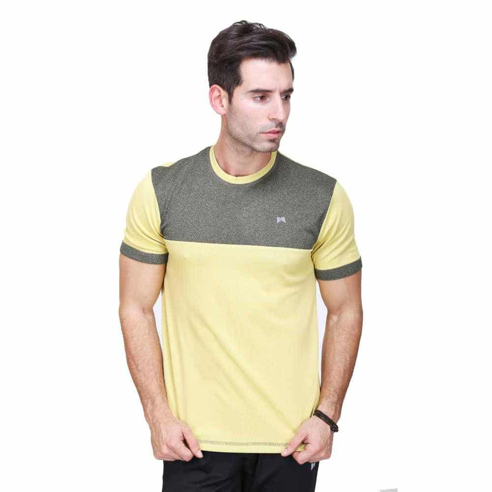 Solid Men Round or Crew Yellow T-Shirt