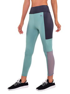 Gym/Yoga High Waist Pocket Style Tight Side Mesh - Light Green & Black