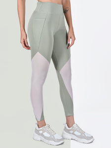 Gym/Yoga High Waist Triangle Style Mesh Tight  - Light Green & White