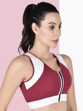 Load image into Gallery viewer, Running/Workout High Impact Front Zip Sports Bra - Pink & White