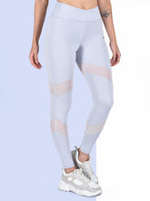 Load image into Gallery viewer, Gym/Yoga High Waist Overlap Belt Style & Mesh Tight- Sky Blue