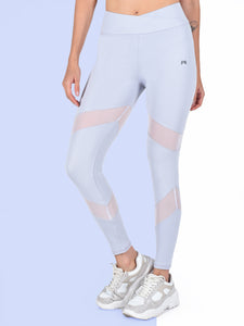 Gym/Yoga High Waist Overlap Belt Style & Mesh Tight- Sky Blue