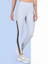 Load image into Gallery viewer, Gym/Yoga High Waist Pocket Style & Side Grey Strap Tight- Sky Blue