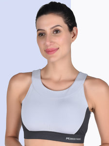 Gym/Yoga High Waist Overlap Belt Tight With Sweetheart Neck Sports Bra Complete Set- Sky Blue