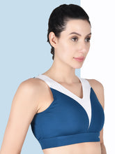 Load image into Gallery viewer, Running/Workout High Impact Front Mesh & Back Design Sports Bra - Blue & White