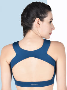 Running/Workout High Impact Front Mesh & Back Design Sports Bra - Blue & White