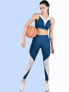 Gym/Yoga High Waist Mesh Tight With Black Style Sports Bra Complete Set