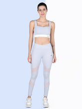 Load image into Gallery viewer, Gym/Yoga High Waist Overlap Belt Tight With Sweetheart Neck Sports Bra Complete Set- Sky Blue