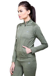 Full Sleeve & Front Zip Women Sweatshirt - Green