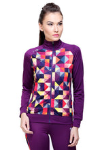 Load image into Gallery viewer, Full Sleeve Geometric Print Women Sweatshirt - Purple