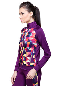 Full Sleeve Geometric Print Women Sweatshirt - Purple