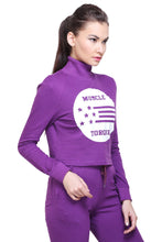 Load image into Gallery viewer, Full Sleeve Solid Purple Casual Women Sweatshirt