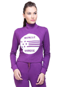 Full Sleeve Solid Purple Casual Women Sweatshirt