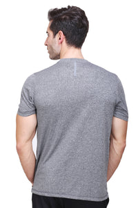 Solid Men Round or Crew Grey T-Shirt