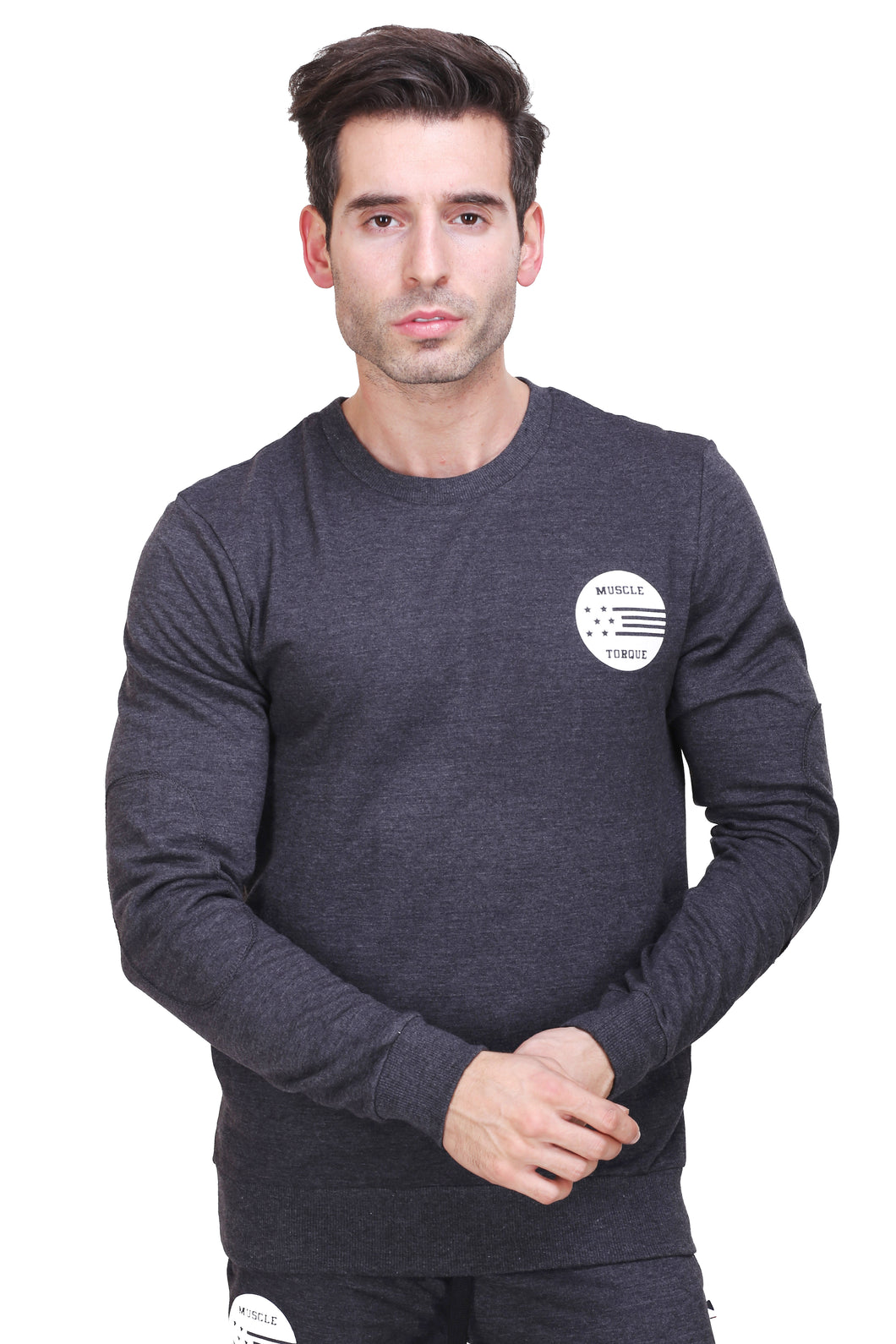Full Sleeve Solid Men Black Sweatshirt