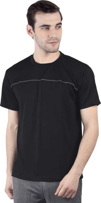 Solid Men Round or Crew Black T-Shirt
