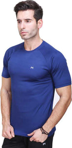 Solid Men Round or Crew Dark Blue T-Shirt