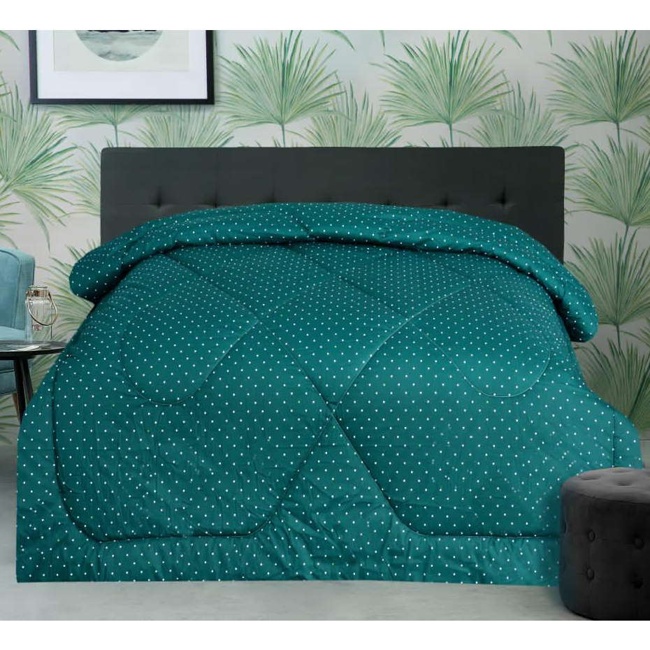 1 Pc Comforter Green Polka Dots T200
