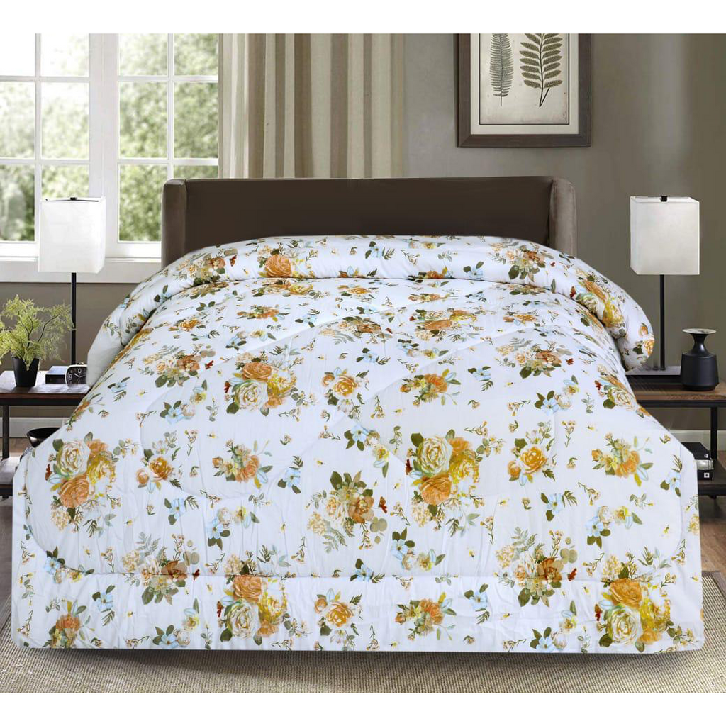 1 Pc Comforter Grey Base Flower with free Pillows case - Daffodils Home