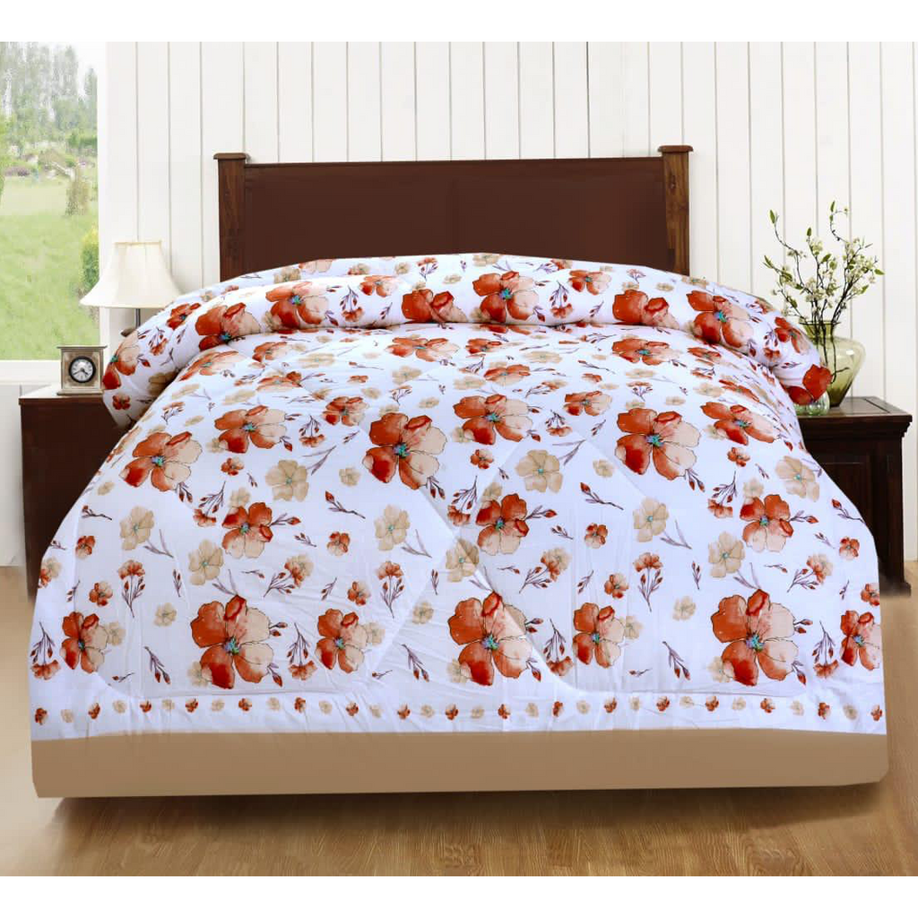 1 Pc Comforter White Base Flower with free Pillows case - Daffodils Home