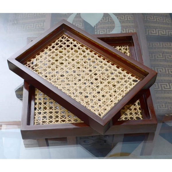 Rattan Base Chocolate Brown Wooden Trays Set of 2 - Daffodils Home