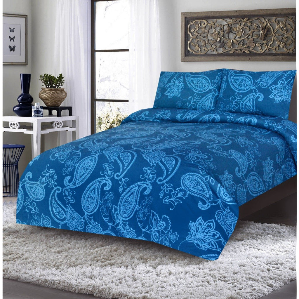 3PCs Bed Sheet DH- Paisley Blue