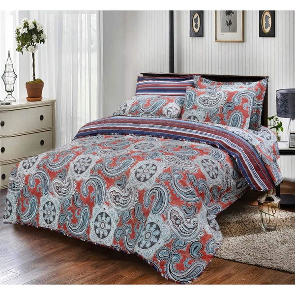 6 PCs BED SPREAD SET PAISLEY BROWN