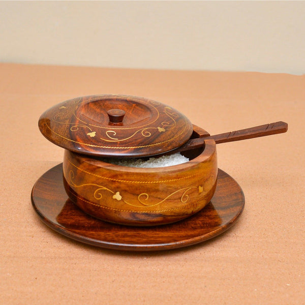 Hand Crafted Wooden Sugar Pot / Spice Container