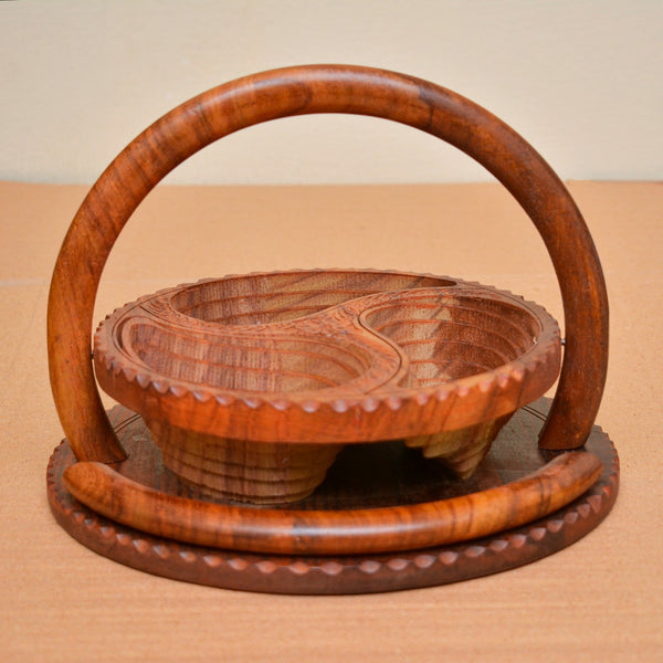 Handmade Craved Wooden Collapsible Multipurpose/Dry Fruit Tray