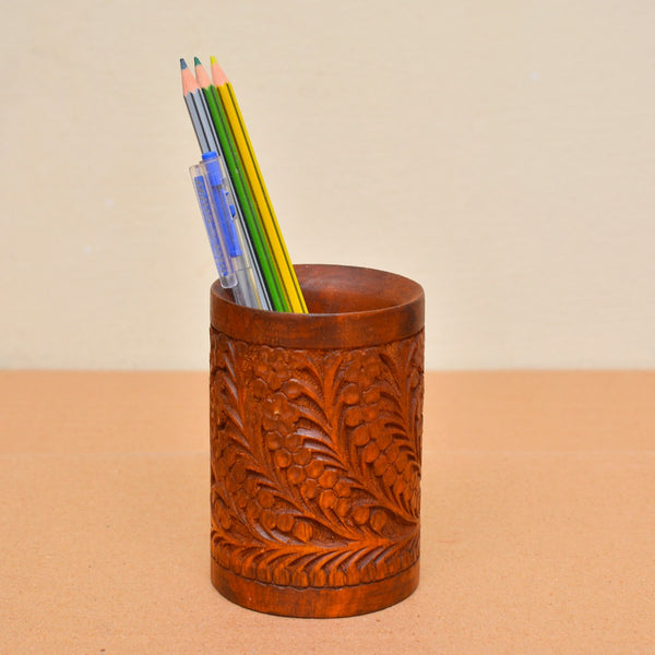 Wooden Carved Pencil and Brush Holder