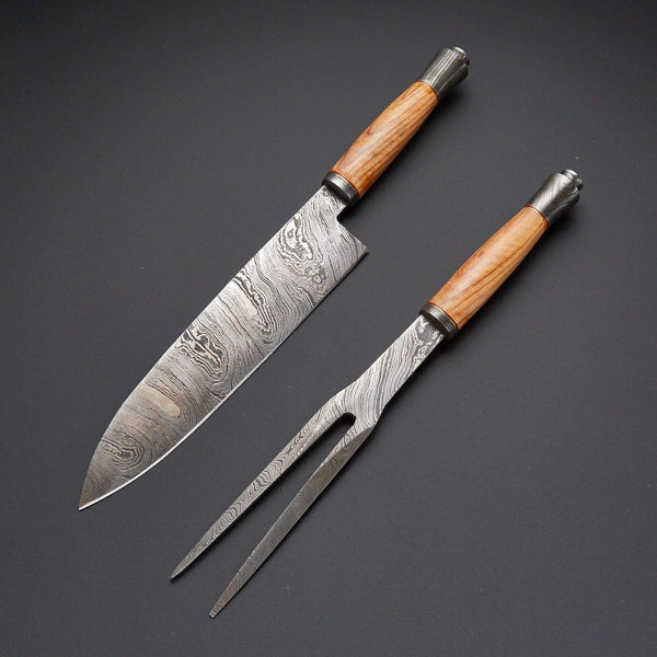 Handmade Damascus Steel Kitchen/Chef BBQ Knife With Leather Cover Beige color handle