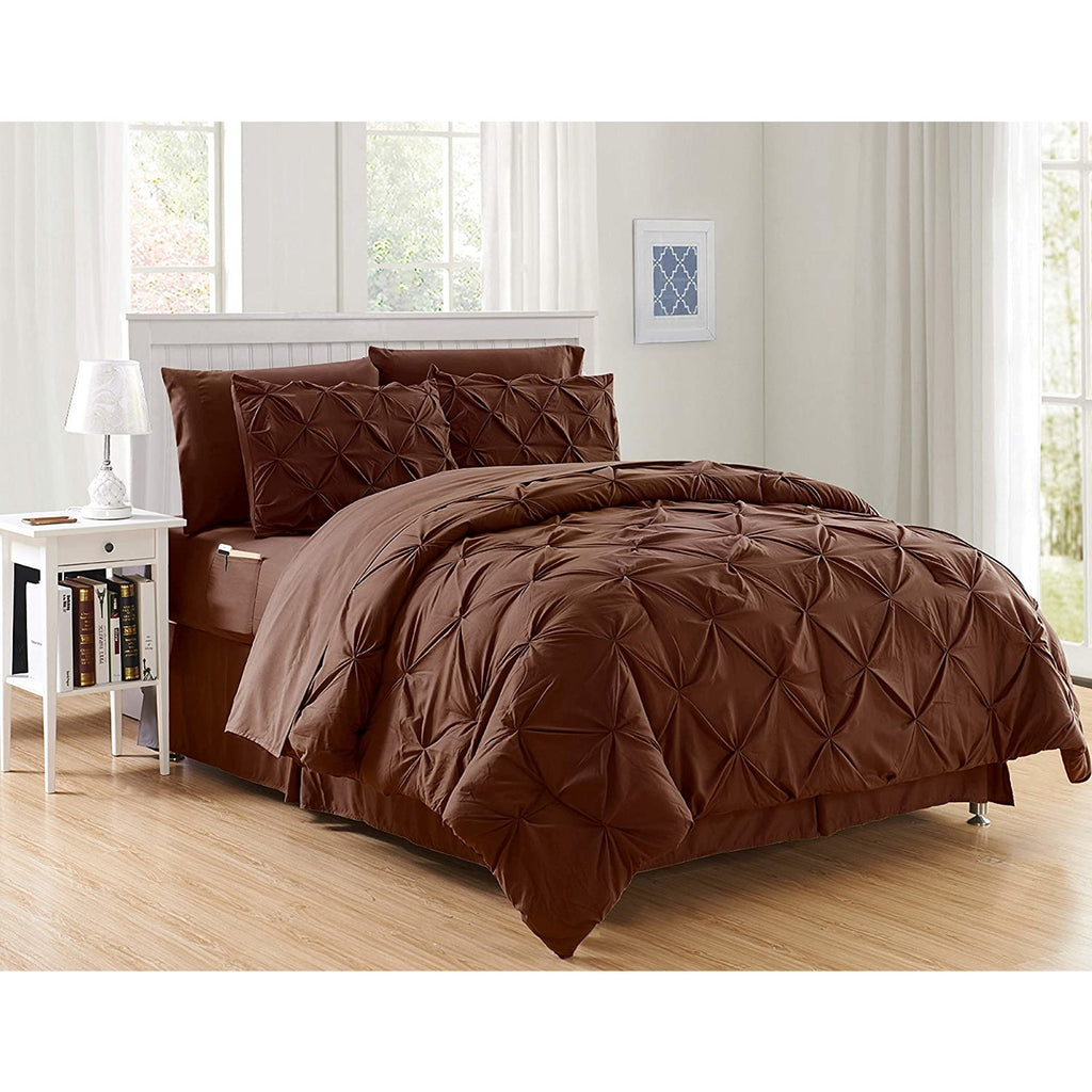 6 Pcs Diamond Pinch Pleat Duvet Set Brown