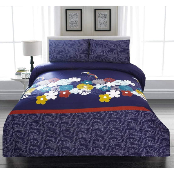 3PCs Bed Sheet Blue Floral Fantasy