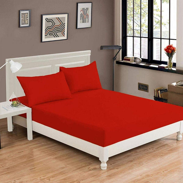 RICH COTTON FITTED SHEET-RED