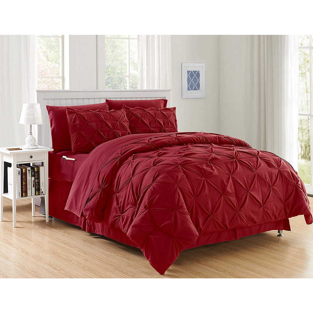 6 Pcs Diamond Pinch Pleat Duvet Set RED