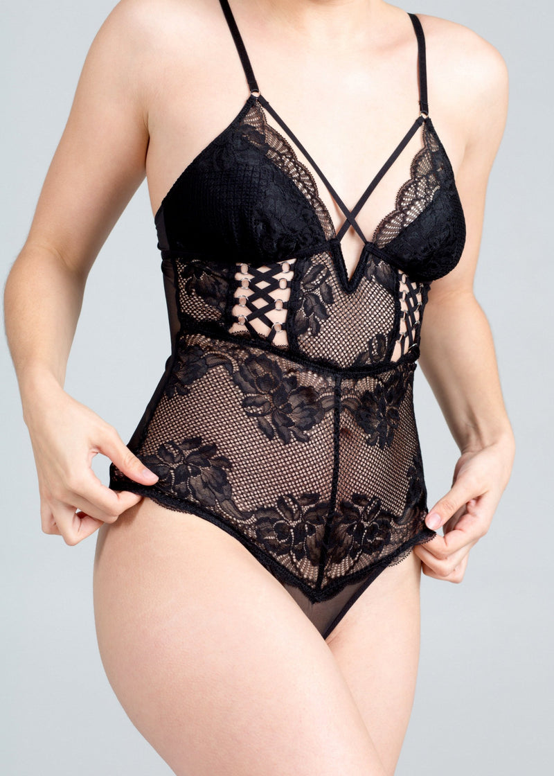 Bowery (Black) Lace Up Bodysuit-Bodywear-Thistle & Spire-AvecAmourLingerie