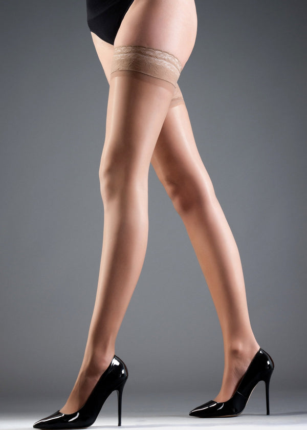 Stockings Hold Ups Plain Leg/Lace Top-Accessories-Bluebella-AvecAmourLingerie