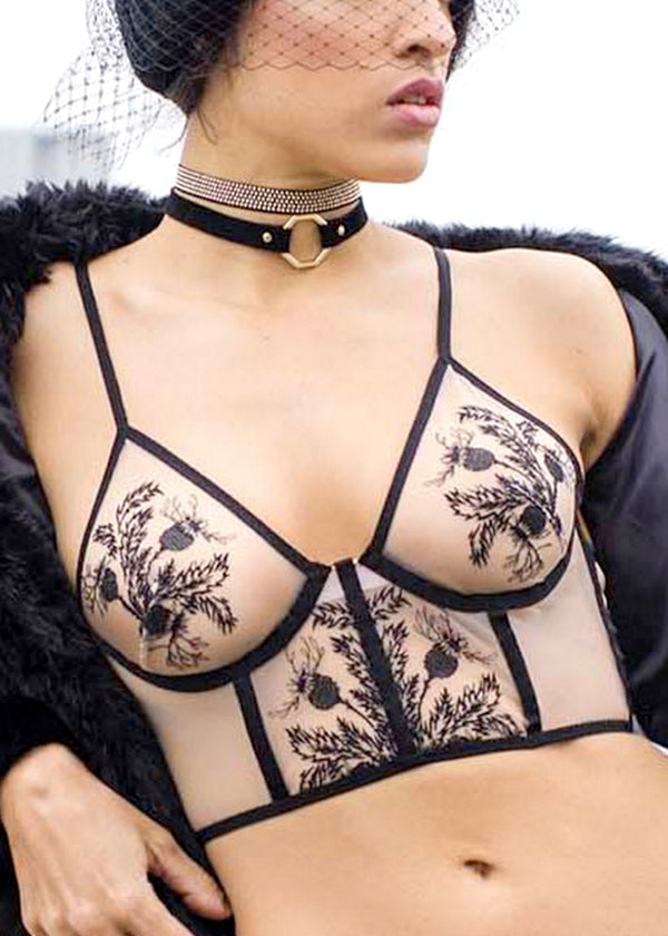 Verona (Black) Embroidered Longline Bra-Bras-Thistle & Spire-AvecAmourLingerie