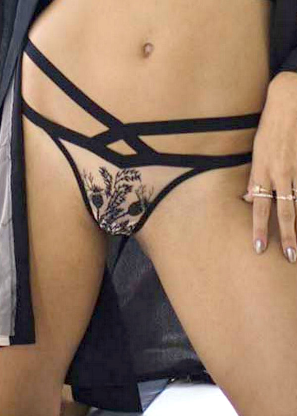 Verona (Black) Embroidered Thong-Bottoms-Thistle & Spire-AvecAmourLingerie