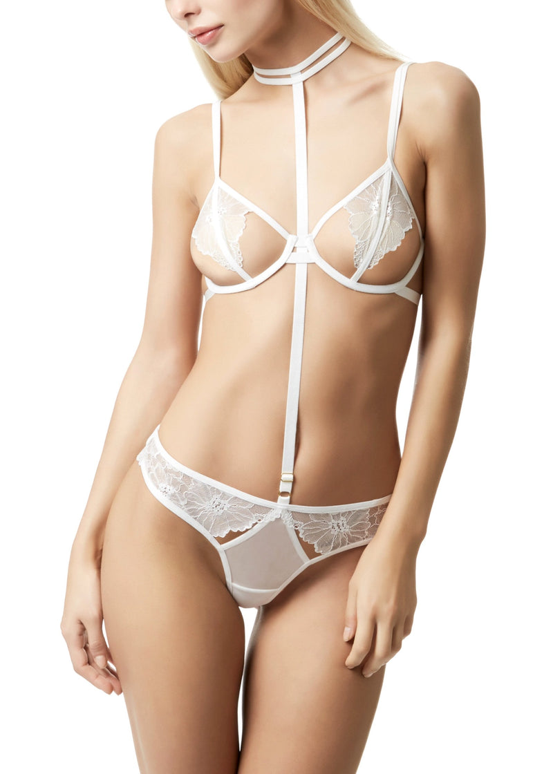Emerson (Ivory) Lace and Mesh Harness Brief-Bottoms-Bluebella-AvecAmourLingerie