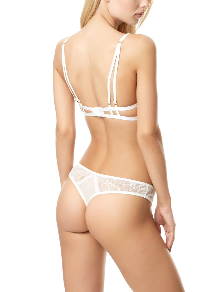 Emerson (Ivory) Lace and Mesh Thong-Bottoms-Bluebella-AvecAmourLingerie